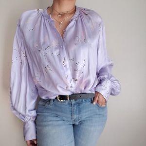 Equipment lavender silk blend button down large